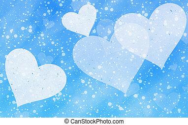 luce blu, sfondi, neve, sognante, cuori