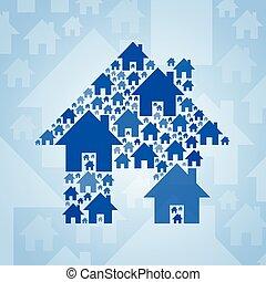 luce blu, simbolo, fondo, casa