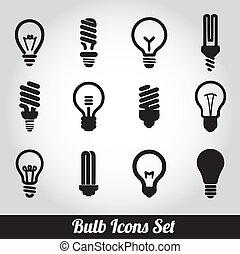 luce, bulbs., bulbo, icona, set