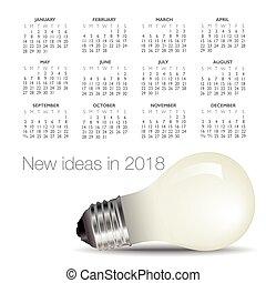 luce, calendario, idea, bulbo, 2018