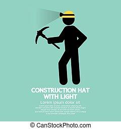 luce, cappello costruzione, simbolo.