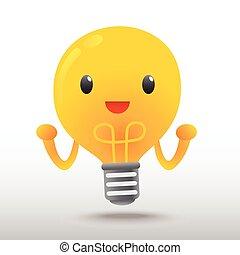 luce, carattere, cartone animato, bulbo