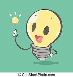 luce, cartone animato, bulbo