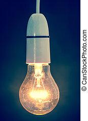 luce, chiudere, bulbo, abbagliante, su