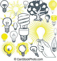 luce, collezione, bulbo