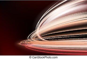 luce colorita, offuscamento, isolato, lungo, effetto, movimento, tempo, piste, esposizione