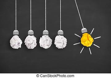 luce, concetti, lavagna, fondo, innovazione, bulbo