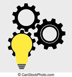 luce, concetto, creativo, bulbo