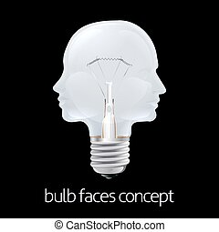 luce, concetto, facce, bulbo