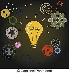 luce, concetto, idea, bulbo