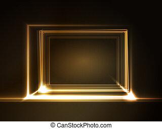 luce, cornice, ardendo, effetti, rettangolare