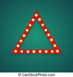 luce, cornice, triangolo, sfondo rosso