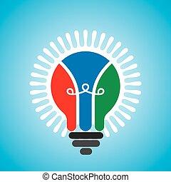 luce, creativo, idea, bulbo