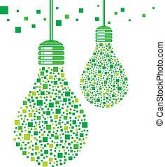 luce, disegno, verde, bulbo