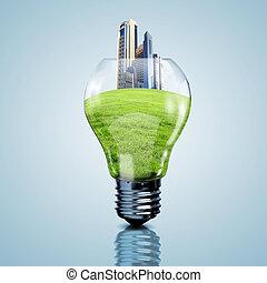 luce elettrica, dentro, esso, pianeta, bulbo