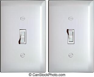 luce elettrica, interruttore, in, su, e, spento, posizioni