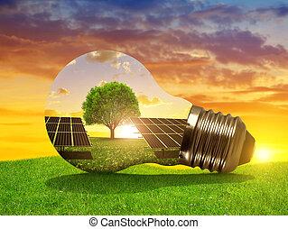 luce, energia, solare, bulbo, pannelli, sunset.
