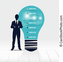 luce, esposizione, infographic, disegno, bulbo, uomo affari, template.