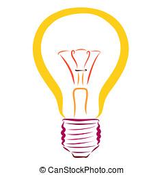 luce gialla, bulbo, illuminazione, modello