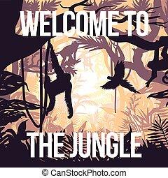 luce, giungla, festa, manifesto