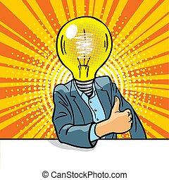 luce, idea, completo, concept., bulbo, tavola., nuovo, testa, uomo, affari, seduta, buono