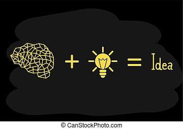 luce, idea, giallo, nero, illustrazione, fondo, bulbo