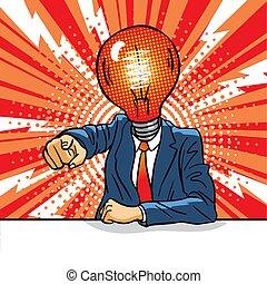 luce, idea, tavola, concept., completo, bulbo, testa, uomo, cattivo, affari, arrabbiato, punti, sedere, finger.