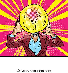 luce, idea, tavola, concept., completo, suo, bulbo, crisis., testa, problemi, uomo, affari, prese, head., mal di testa, sedere