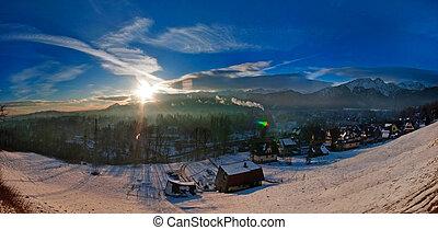 luce inverno, -, mattina, zakopane, paesaggio