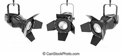 luce, isolato, o, fondo, bianco, riflettore, palcoscenico
