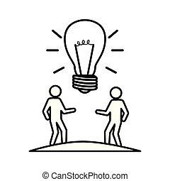 luce, lavoro squadra, idea, bulbo