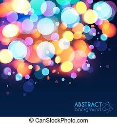 luce luminosa, bokeh, effetto, colori, vettore, fondo