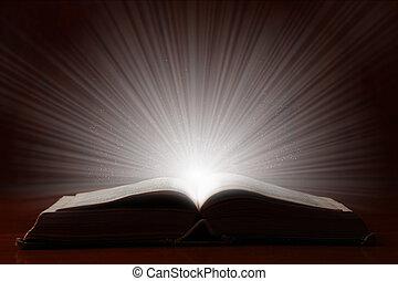 luce, luminoso, libro, vecchio