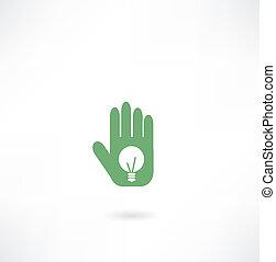 luce, mano, bulbo, icona