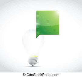 luce, messaggio, bolla, illustrazione, bulbo