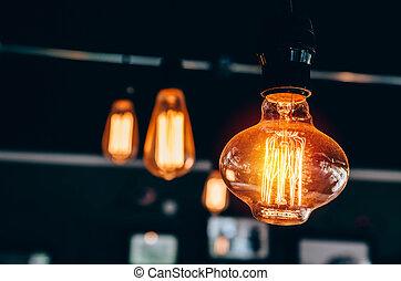 luce, moderno, elettrico, bulbo