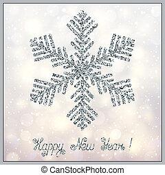 luce natale, sfavillante, accessorio, stilizzato, fondo., bokeh, disegnare elemento, fiocco di neve