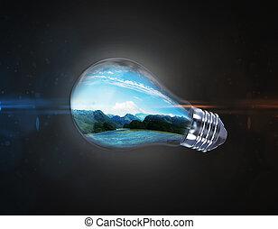 luce, naturale, paesaggio, bulbo