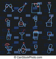 luce neon, card., set, alcool, signs., mattone, icone, scuro, wall., ardendo, bibite