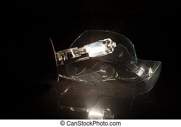 luce nera, fondo, bulbo, chiaro, vetro, rotto