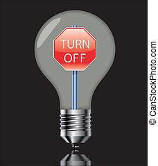 luce, nero, spegnere, segno