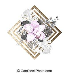 luce oro, foglie, struttura, palma, fondo, azzurramento, geometrico, astratto, orchidea