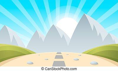 luce, paesaggio, sole, montagna, cartone animato