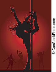 luce, ragazza, rosso, ballo