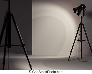 luce, riflettore, parete, interpretazione, bianco, dà, 3d