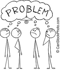 luce, risolvere problema, gruppo, illustrazione, bulbo, o, vettore, cartone animato, uomini, uomini affari, complesso, come, cambiamento