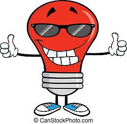 luce rossa, bulbo, con, occhiali da sole
