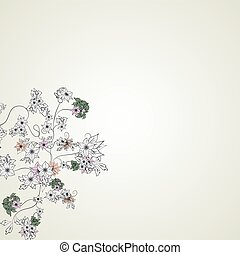 luce, schizzo, fiori, fondo