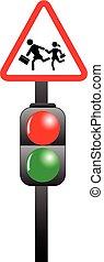 luce, scuola, traffico, bambini, segno