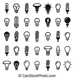luce, set, bulbs., bulbo, icona